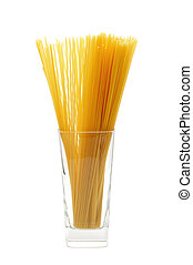 uncooked spaghetti - a pile of uncooked spaghetti on a glass...