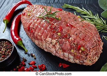 uncooked spicy meat roulade, top view