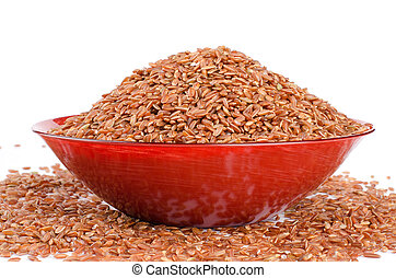 Uncooked Thai brown rice in a bowl