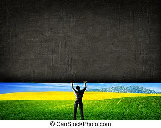 uncovering, muur, beter, beton, verheffing, groen landschap...