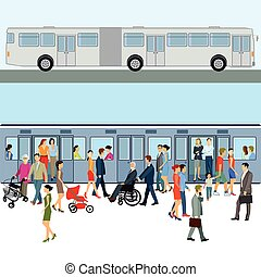 und, autocarro, metro