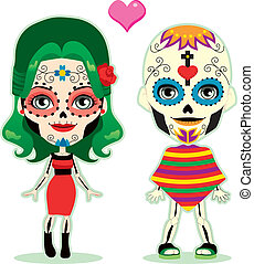 Undead couple in love celebrating the mexican dia de los muertos in traditional costume