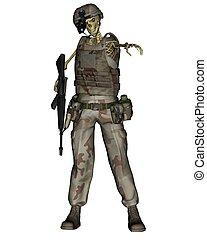 Undead desert soldier skeleton for Halloween, 3d digitally rendered illustration