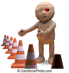 Undead Egyptian mummy is responsible for all the traffic cones, 3d illustration render