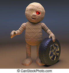 Undead Egyptian mummy monster with a car wheel, 3d illustration