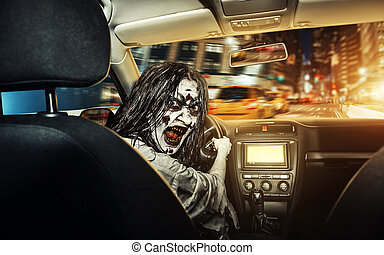 Undead girl with bloody face rides in the car