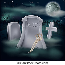 Illustration of an undead skeleton hand and arm reaching out of a spooky grave