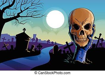 undead, ter, chão, morto, cabeça, cranio, braço, zombie, mão...