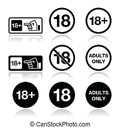 Under 18, adults only warning sign