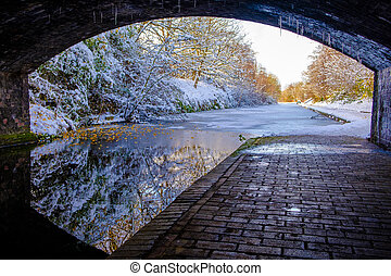 Under A Bridge View of Frozen Birmingham Canal - View of...