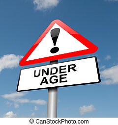 Under age concept. - Illustration depicting a road traffic ...