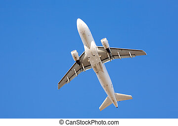 under airliner - airliner taking off in clear blue sky