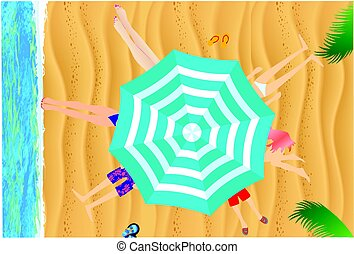 Under an umbrella on the beach