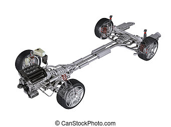 Under carriage technical 3 D rendering, of a generic sedan...