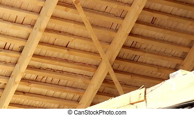 Under Cedar wooden shingles roof roofing roofworking...