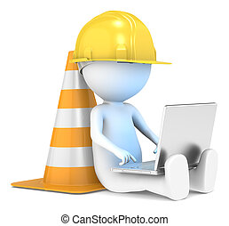 3D little human character The Builder sitting with a Laptop. Illuminative blue screen. People series.