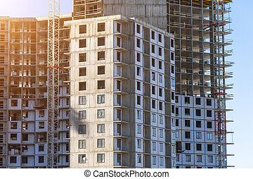 Under construction apartment building and residential real estate, corners of the buildings