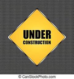 under construction background with chrome metal grid design, vector illustration