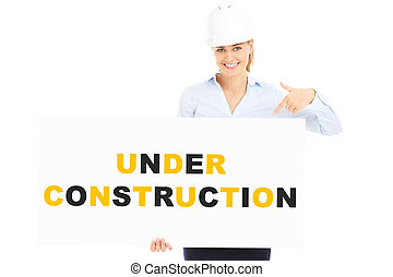 Under construction banner - A picture of a pretty woman in a...