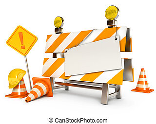 Under construction barrier. Blank sheet. Traffic cones. Road...
