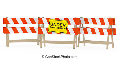 yellow black under construction sign on barrier