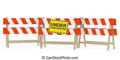 under construction barrier - yellow black under construction...