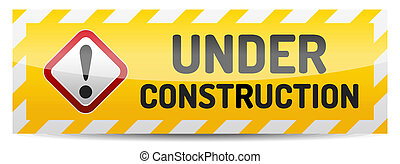 Under construction board with reflection and shadow on white background.