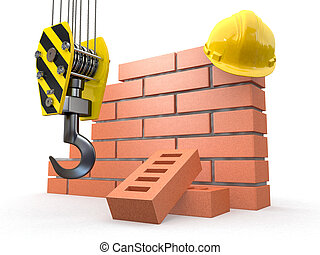 Under construction. Brick wall, crane and hardhat. 3d