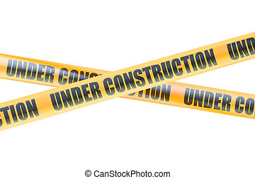 Under Construction Caution Barrier Tapes, 3D rendering...