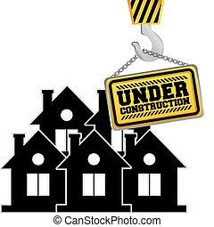 under construction chain sign hanging crane