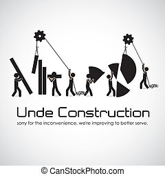 under construction, building with bars silhouettes, vector...