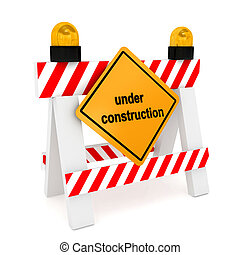 """""""Under construction"""" concept over white"""