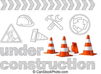 Under construction concept, sketched drawing with traffic cones