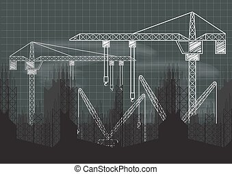 Under Construction crane chalkboard blueprint