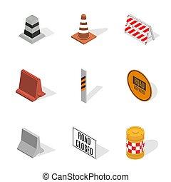 Under construction design elements in 3D, vector illustration.