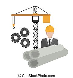 Under construction design over white background, vector...