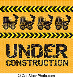 Under construction design over yellow background, vector illustration