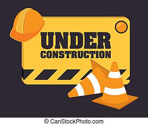 Under construction design over black background, vector illustration