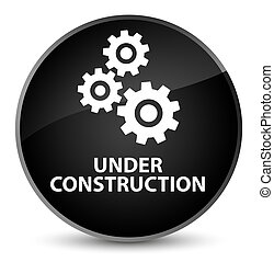 Under construction (gears icon) elegant black round button