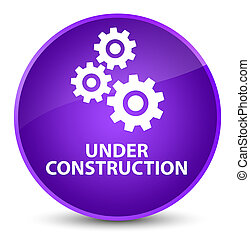 Under construction (gears icon) elegant purple round button