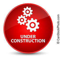 Under construction (gears icon) elegant red round button