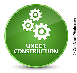 Under construction (gears icon) elegant soft green round button