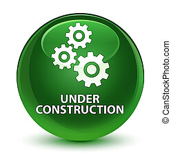 Under construction (gears icon) glassy soft green round button