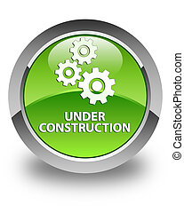Under construction (gears icon) glossy green round button