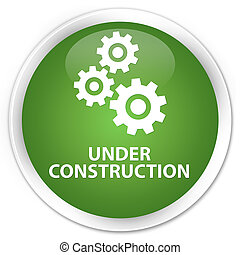 Under construction (gears icon) premium soft green round button