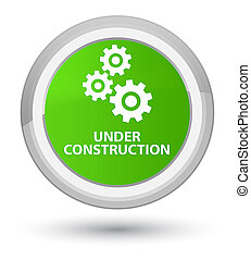 Under construction (gears icon) prime soft green round button