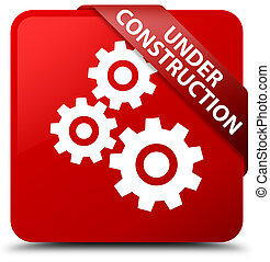 Under construction (gears icon) red square button red ribbon in corner