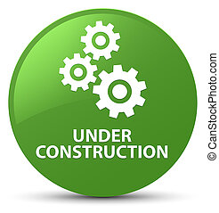 Under construction (gears icon) soft green round button