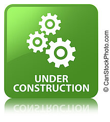 Under construction (gears icon) soft green square button