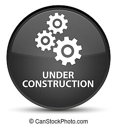 Under construction (gears icon) special black round button